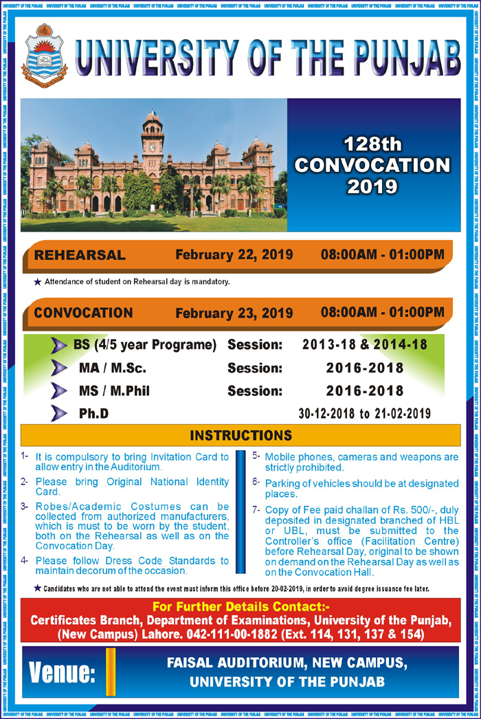 128th Convocation will be held on 23rd February (Saturday), 2019