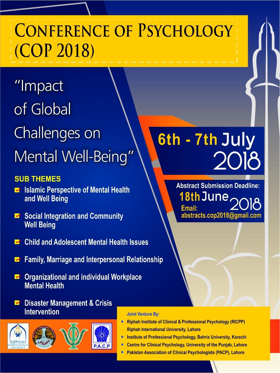 Conference of Psychology (COP 2018) - University of the Punjab