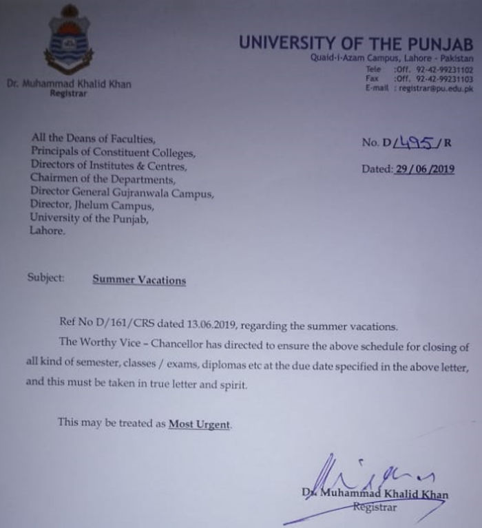 Notification for Summer Vacations - University of the Punjab - News