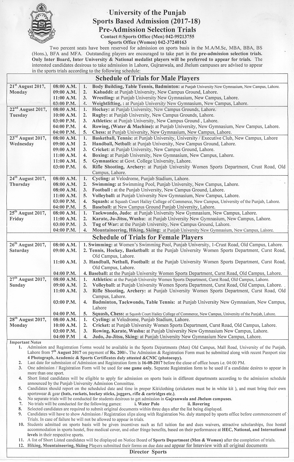 Sports Based Admission (2017-18) - Pre-Admission Selection Trials