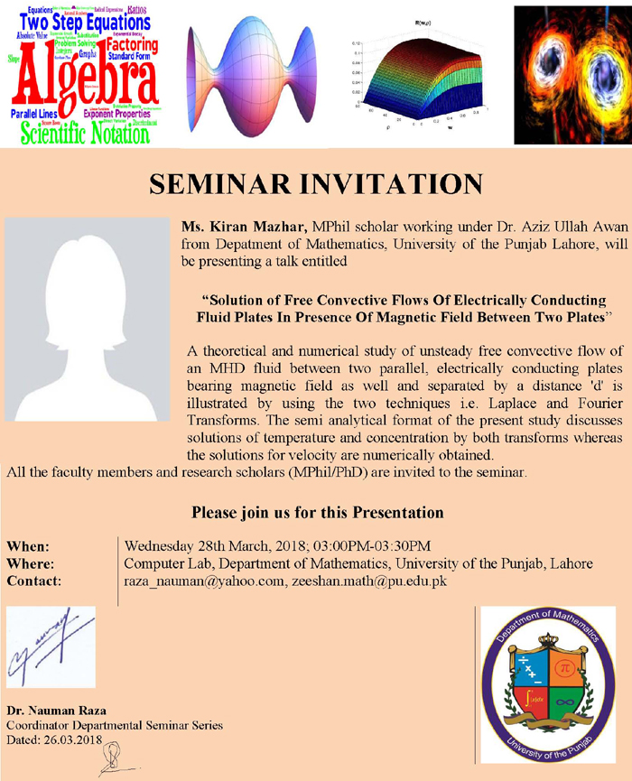 University of the punjab news updates seminar invitation seminar invitation solution of free convective flows of electrically conducting fluid plates in presence of magnetic field between two plates stopboris Image collections