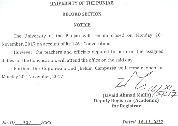 PU will remain closed on Monday 20th November, 2017 on account of